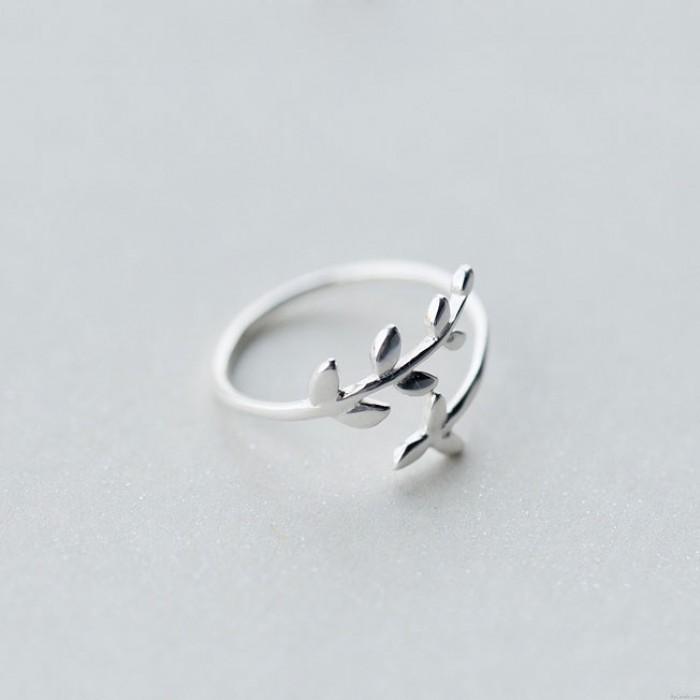 Süße einfache Baumblätter Silber Offen Ring
