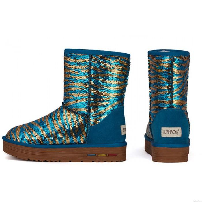 Neu Paillette Winter Leder Schnee Boots / Baumwolle Schuhe