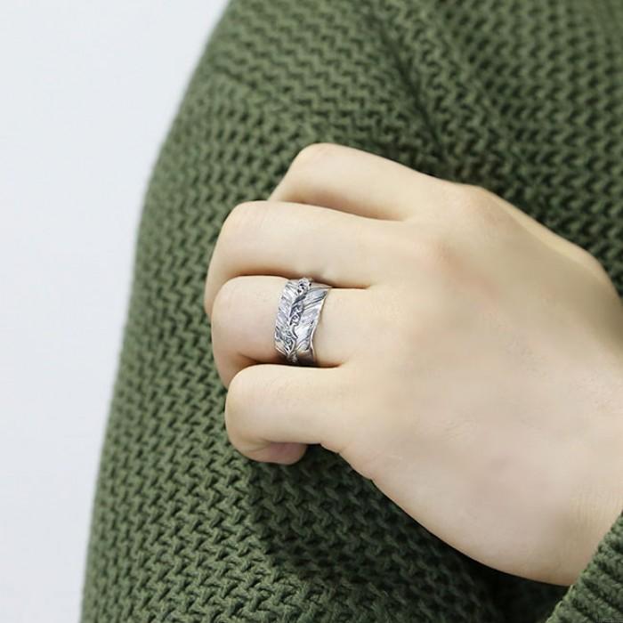 Retro Handarbeit Silberne Feder Open Lenient Ring
