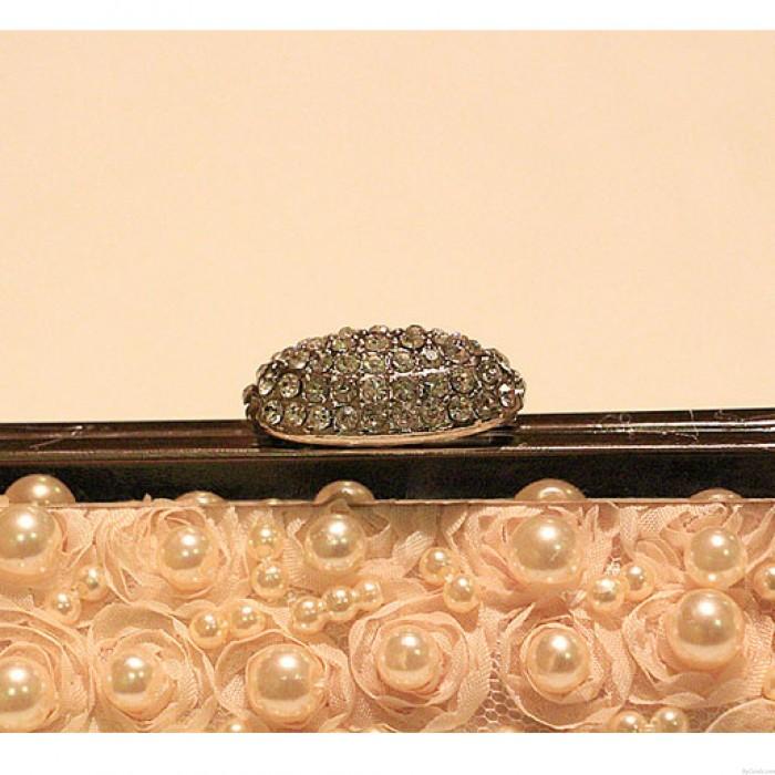 Diamant Schnalle Rosen süße Perlen-wulstige Abschlussball-Abend-Hochzeits-TaschePartei-Handtasche