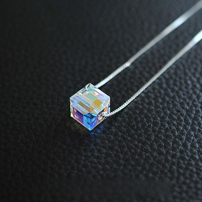 Transparent Ball Würfel Klee Fallen Star Kristall Kurz Silber Halskette