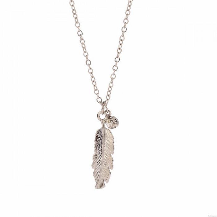 Engels Feder Diamant-Anhänger elegante Halskette