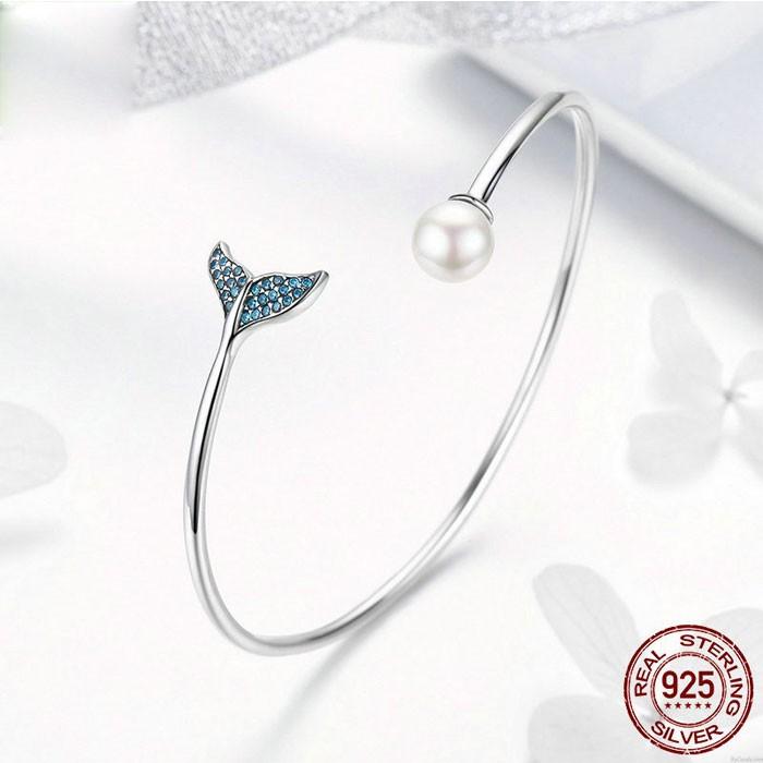 Süße Meerjungfrau Träne Perle Diamant Frauen öffnen Silber Armband