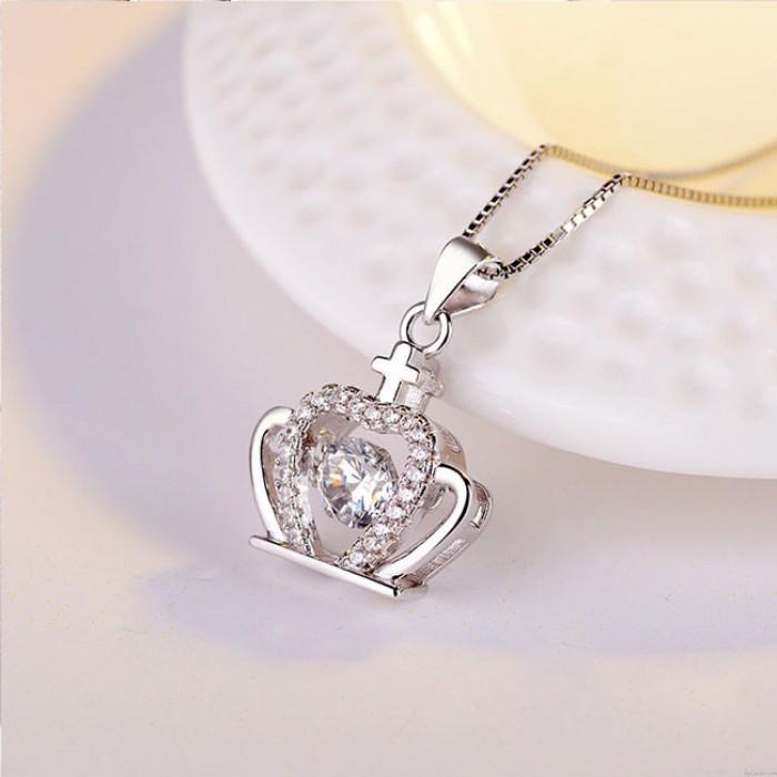 Mode Krone Diamant Frauenkrone Kreuz Silber Kristall Halskette