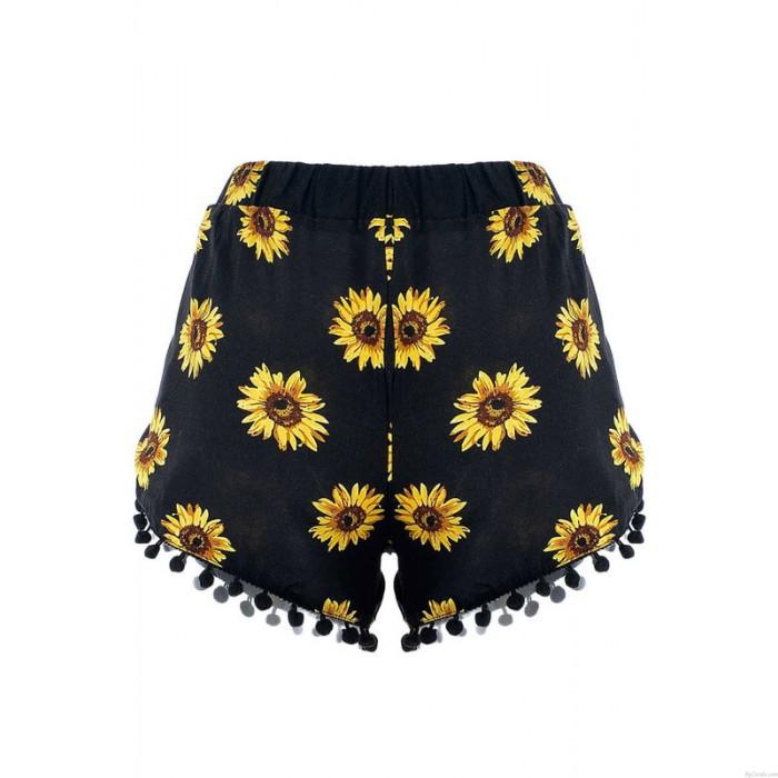 Chrysantheme Drucken Getrimmt Buttom Fransen Kurze Hose