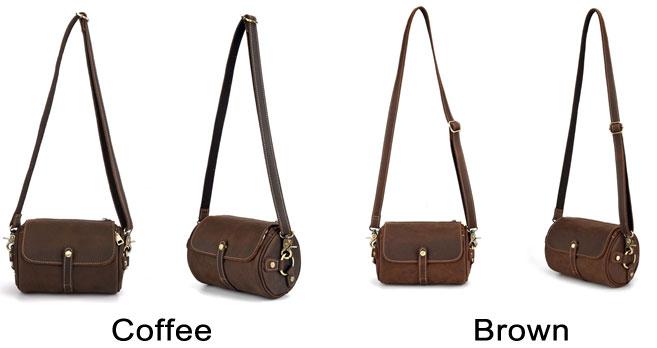 Retro Brown Small Cylinder Bag Single Buckle Top Layer Cowhide Simple Shoulder Bag