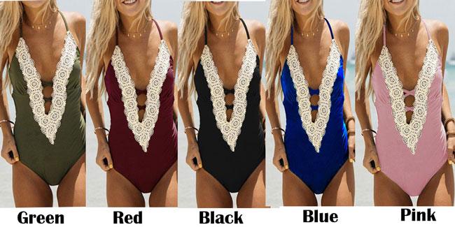 Sexy Bikini Women's Lace Flower One Pieces Pure Color Swimwear