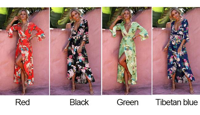 Sexy Bell Sleeve Dress Bohemian Summer Beach Long Dress