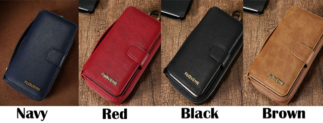Retro Zipper Wallet Multi-function Purse Clutch Bag PU Leather Iphone Case Wallet