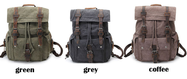 Retro Leather Three Buckle Large School Bag Outdoor Camping Travel Backpack