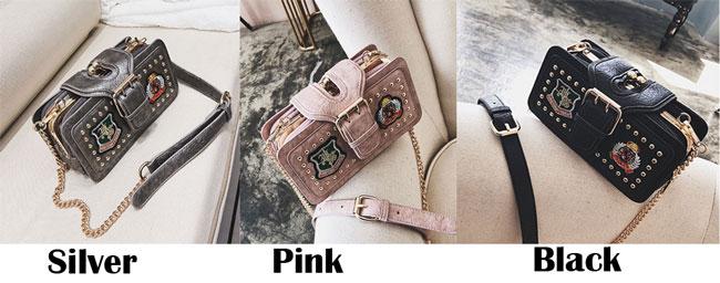 Unique Girl's PU Leather Rivet Small Shoulder Bag