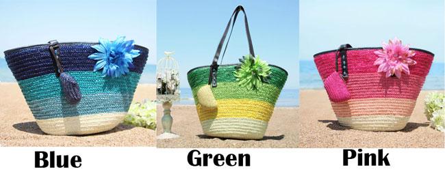 Fresh Summer Rainbow Flower Stripe Beach Tote Bag Girl's Weave Handbag