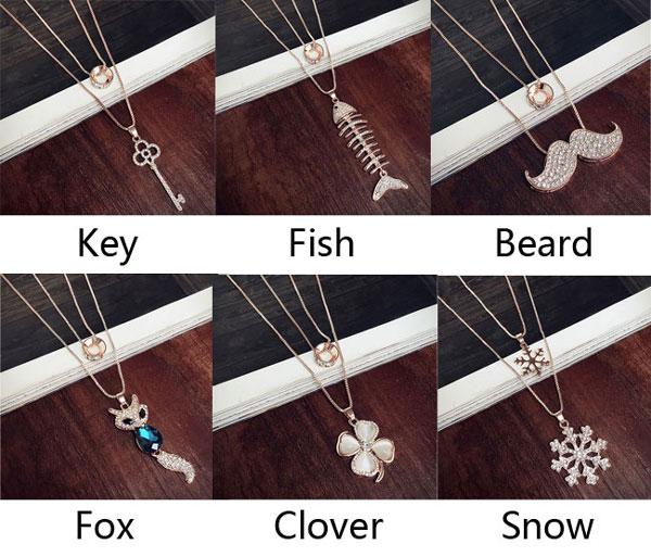 Fashion Key Fish Beard Fox Clover Snow Pendant Animal Flower Women Sweater Necklace