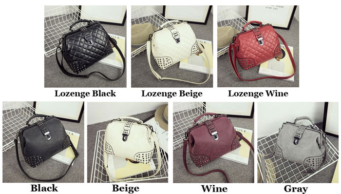 Stylish Matte Lozenge Rivets Punk Messenger Shoulder Bag