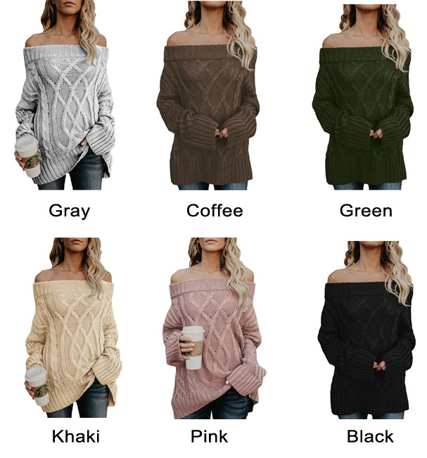 Fashion Loose Knit Long Sleeve Strapless Shoulder Cardigan Women Sweater