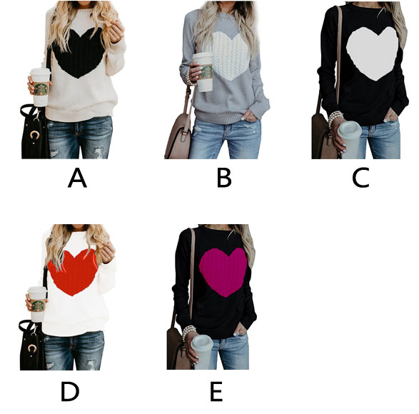 Leisure Romantic Love Heart Knit Long Sleeve Cardigan Girlfriend Gift Women Sweater
