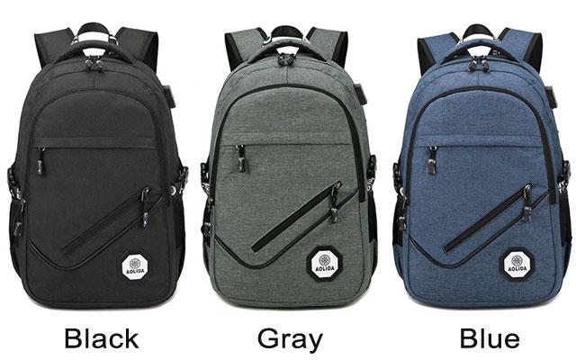 Leisure Diagonal Zipper Outdoor Large USB Interface Travel Rucksack Sport Backpack