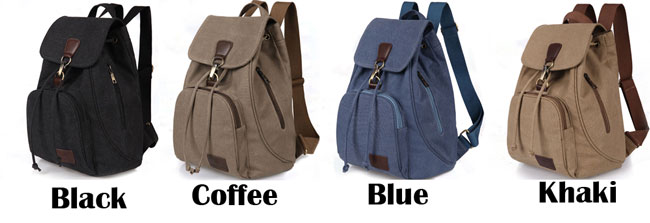 Retro Single Button College Bag Outdoor Travel Thick Canvas Backpack