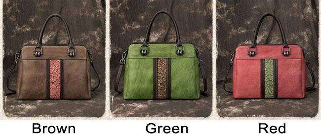 Retro Contrast Color Vertical Pattern Carving Original Handmade Handbag Large Cowhide Shoulder Bag