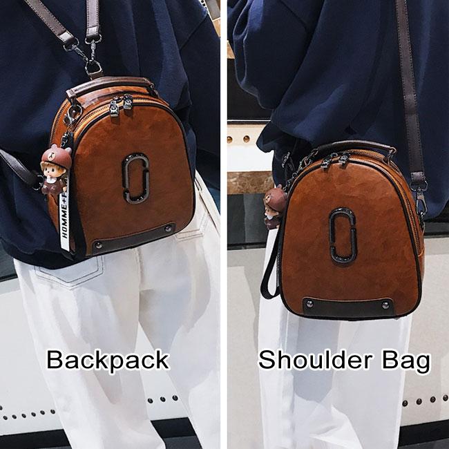 Fashion Multi-function Oval Cartoon Doll Decor Rivet Shoulder Bag PU Women Backpack