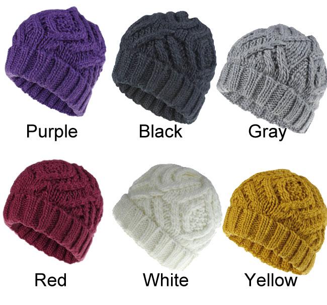 Fashion Diamond Checkered Soft Thick Wool Hairband Knit Warm Winter Women Hat