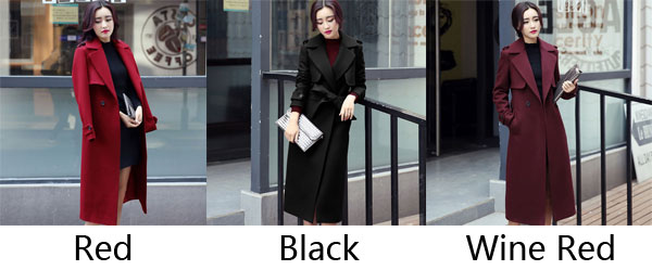 Fashion Women Long Lapel Single Breasted Red Trench Coat Bodycon Overcoat