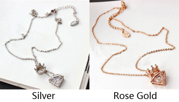 New rose gold short chain zircon crown diamond pendant necklace new rose gold short chain zircon crown diamond pendant necklace mozeypictures Image collections