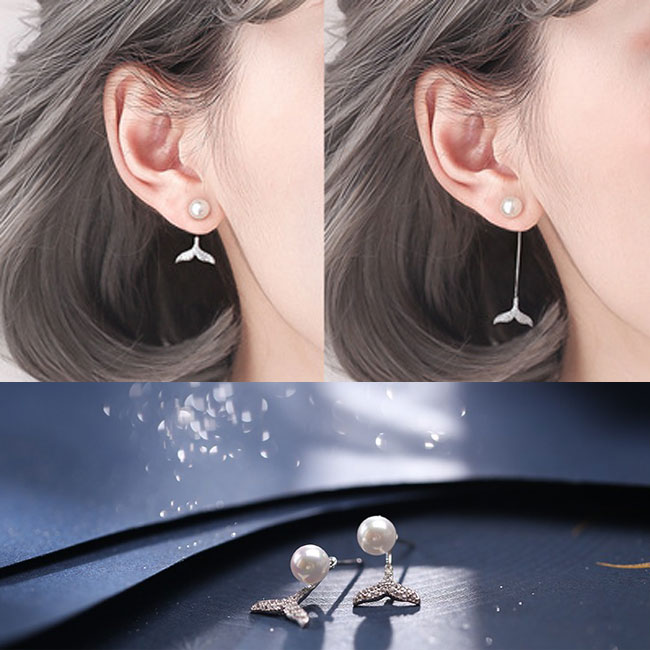 Sweet Pearl Mermaid Tail Diamond Silver Women Drop Earrings Studs