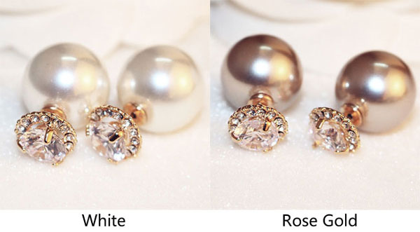 Fashion Double Sided Pearl Ball Crystal Women Earrings Studs Only 17 99 Bygoods