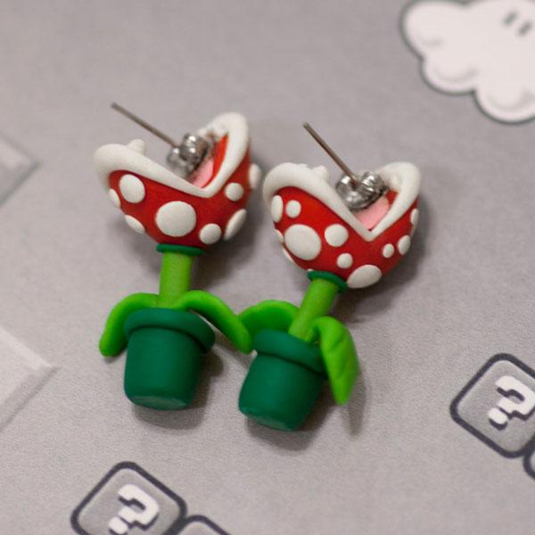 DIY Pottery Clay Cute Cartoon Piranha Stud Earring