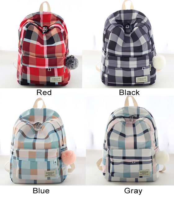 Sweet Lattice School Bag Grid Large Student Canvas Backpack