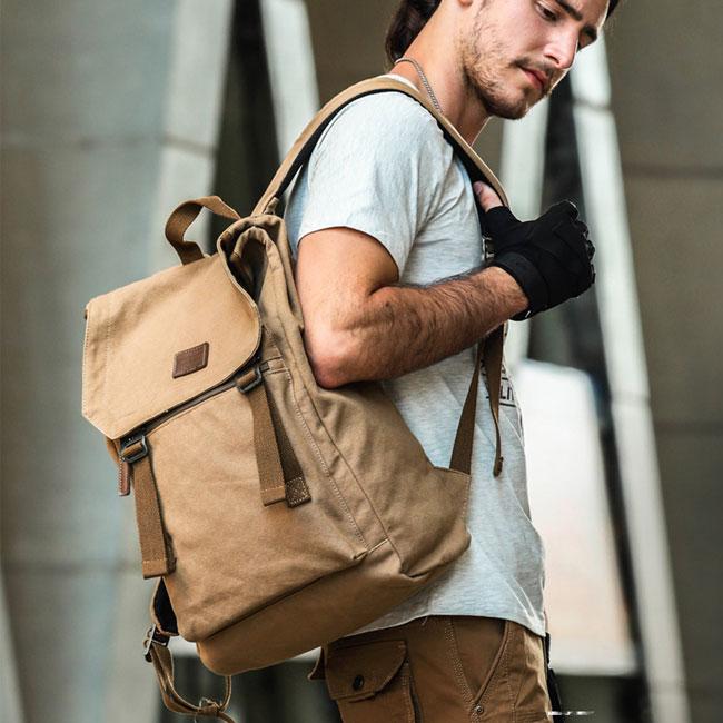 Retro Double Strap School Bag Canvas Large Backpack Man Travel Rucksack