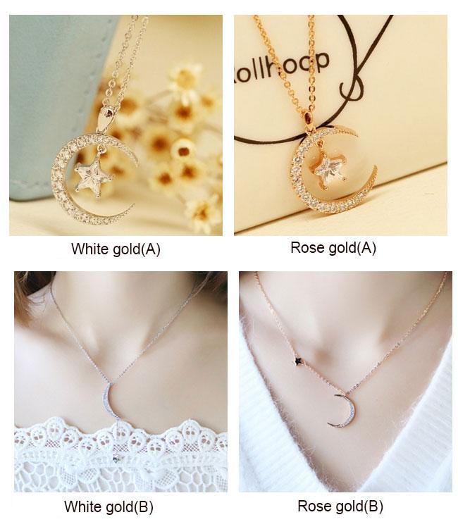 Fashion Moon Star Crystal Pendant Rhinestone Women Necklace