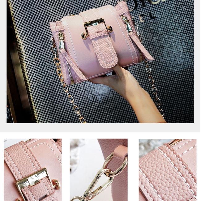 Fashion Double Vertical Zipper Lady Single Buckle Shoulder Bag Chain Messenger Bag
