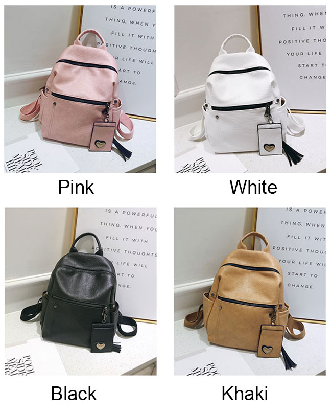 Retro Pure Soft PU Leather Leisure Student Bag School Backpack