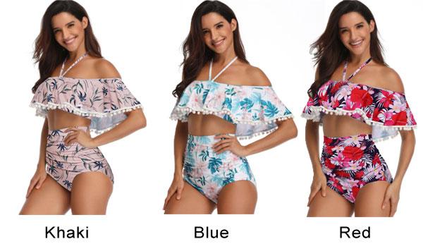 Sexy Flower Leaves Printing Cross Collar High Waist Bikinis Sling Summer Swimsuit