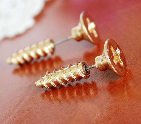 Funny Punk Screw Studs