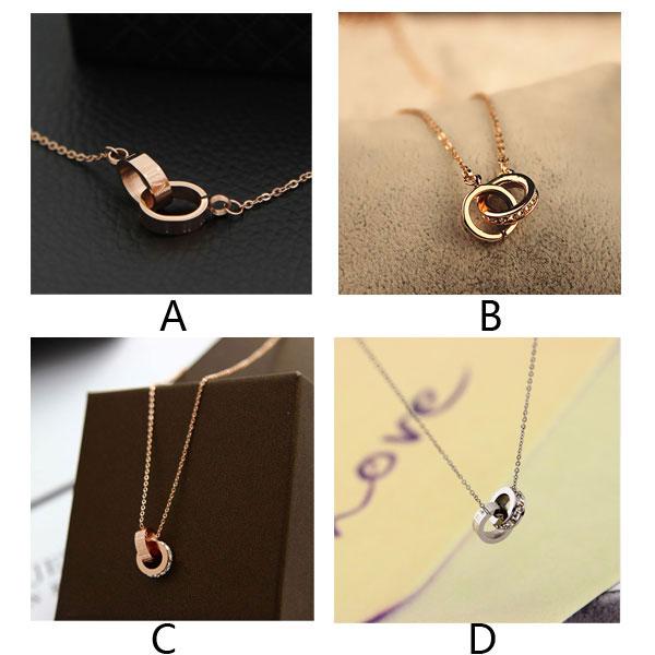 Fashion Circular Oval Double Ring Rhinestone Pendant Necklace