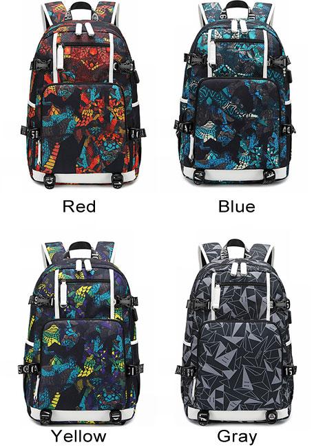 Unique Complex Pattern USB Interface Waterproof Oxford Boy High School Bag Sport Backpack