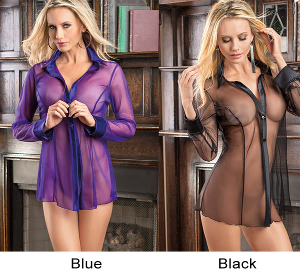 Sexy Mesh Open Shirt Long Sleeve Pajamas Flirt Perspective Women Lingerie