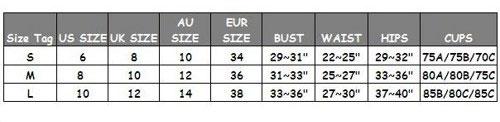 bikni's size table