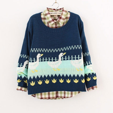 Fresh Duck Pattern Pullover Sweater