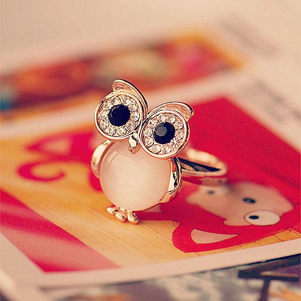 Mode Cute Owl Opal Eröffnung Tier Ring