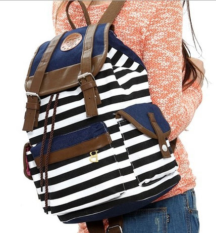fashion Retro Navy Stripe Print Fresh Backpack