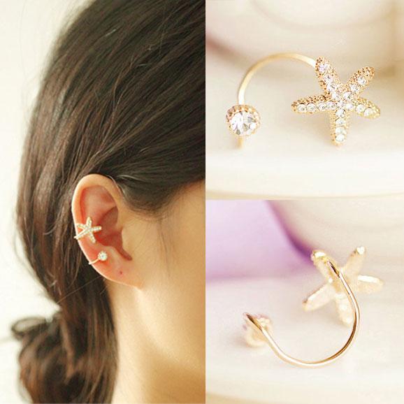 Cute Starfish Rhinestone Clip Earring