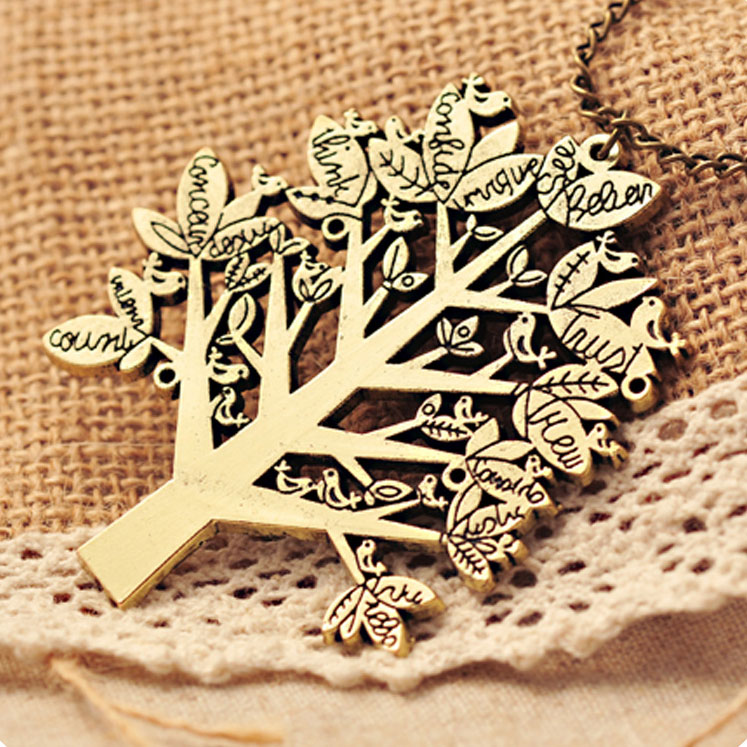fashion Christmas Life Tree Bird Sweater Necklace