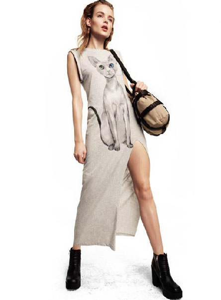 Light Gray Cat Print One Side High Slit Long Dress