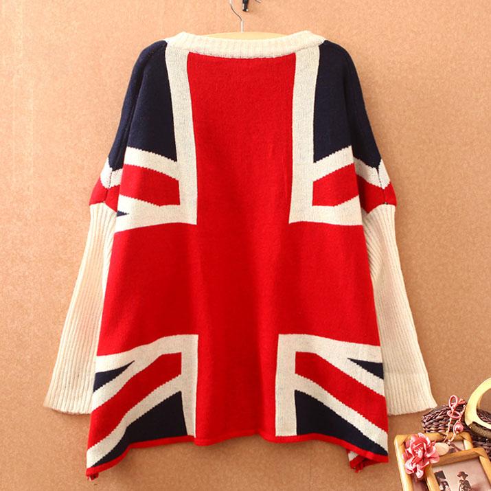 Fashion British Flag Bat Sleeve Loose Sweater