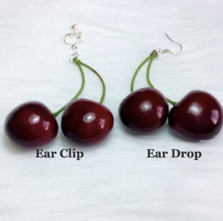 Sweet Big Cherry Ear Drops/Ear Clips