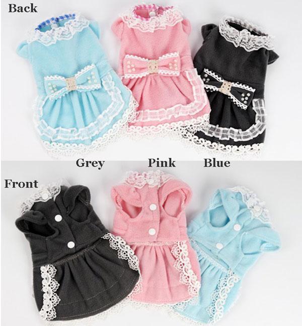 Cute Bow Velvet Lace Dress Dog Clothes